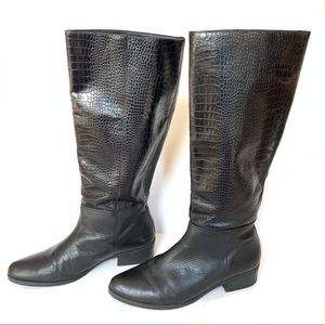 Schutz Croc Embossed Low Heeled Riding Boot Size 8